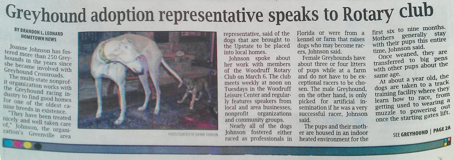 Joanne Johnson Woodruff Rotary Club Greyhound Presentation